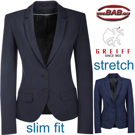 Greiff 1411 Premium Blazer für Damen in Slim Fit, Stretchanteil