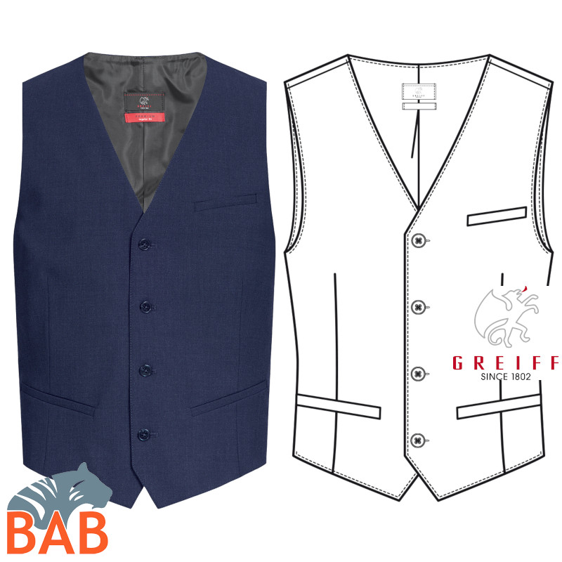 Greiff 1611 Herrenweste Regular Fit in royal, braun, grau