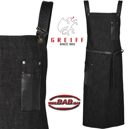 Greiff 40415 Latzhosen Schürze in Black Denim 77x100