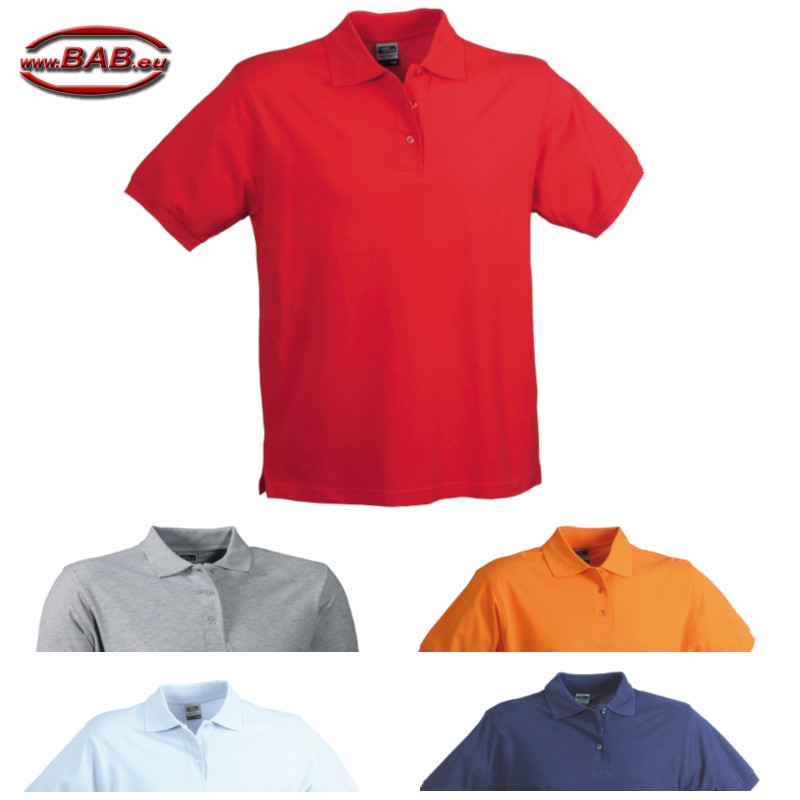 Herren Polo in grey heather, light blue, navy, orange, red
